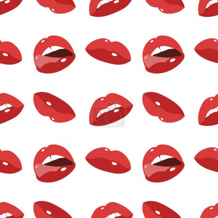 Illustration for Cartoon flat style vector illustration of seamless lips - Royalty Free Image