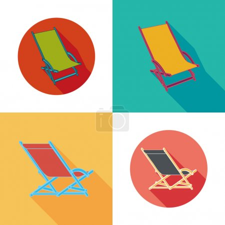 Lounger Beach Sunbed Chairs flat icons set