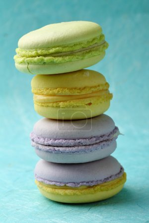 Photo for Stack of sweet macaroons, french dessert - Royalty Free Image