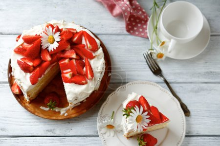Photo for Delicious cake with strawberries, top view - Royalty Free Image