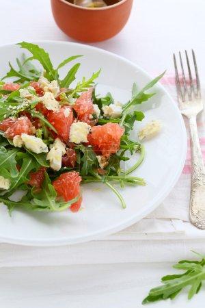 salad with slices of roquefort