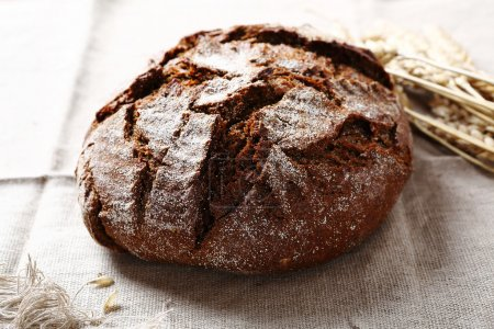 Fresh bread on a napkin