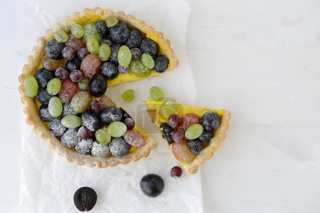 Photo for Sweet pie with grapes top view, pastry - Royalty Free Image