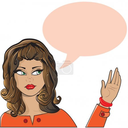 Illustration for This file represents a woman saying hallo, or speaking or thinking, with a balloon that can be easily deleted. Evcerything is divided into groups and layers. Everything is grouped. Saved as EPS  10. - Royalty Free Image