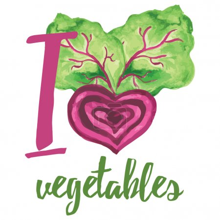 Typographic banner with hand drawn beetroot. I love vegatables.