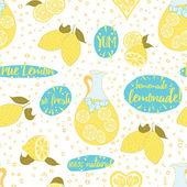 Seamless citrus fruit lemon juice pattern Homemade fresh lemonade on the jag with lemons and hand written letters on the white background