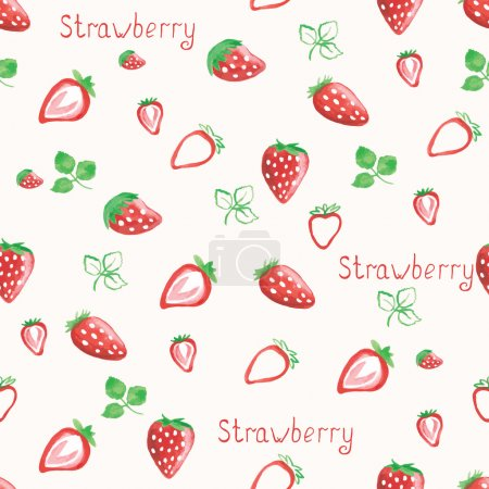 Watercolor strawberry background. Hand drawn vector illustration.