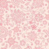 Cute vector seamless pastel floral background The  pink doodle flowers on the  beige background great as a textile for baby cloth fabric design for girls Hand drawn vector packing