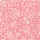 Cute vector seamless pink floral background The  pastel doodle flowers on the  pink background great as a textile for baby cloth fabric design for girls Hand drawn vector packing