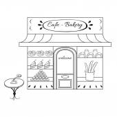 Bakery shop building facade with signboard Hand drawn illustration or icon