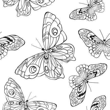 Illustration pour Monochrome, fond sans couture noir et blanc avec des papillons. Elégants éléments pour la conception, peut être utilisé pour le papier peint, décoration pour les sacs et les vêtements. Lignes et traits de contour dessinés à la main . - image libre de droit
