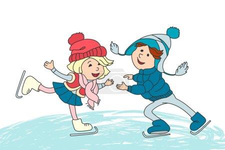 Boy and girl skating on ice