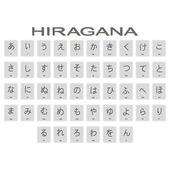 Sada jednobarevné ikon s japonské abecedy hiragana