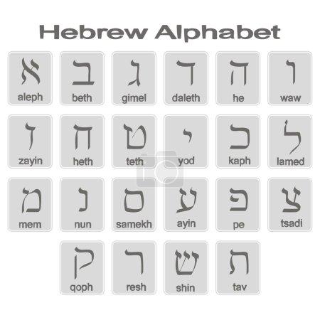 Set of monochrome icons with hebrew alphabet