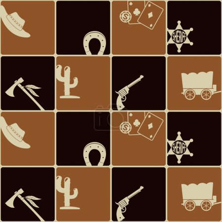 Seamless background with cowboys and wild west theme