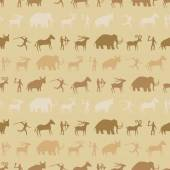 Seamless background with rock carvings and rock art for your design
