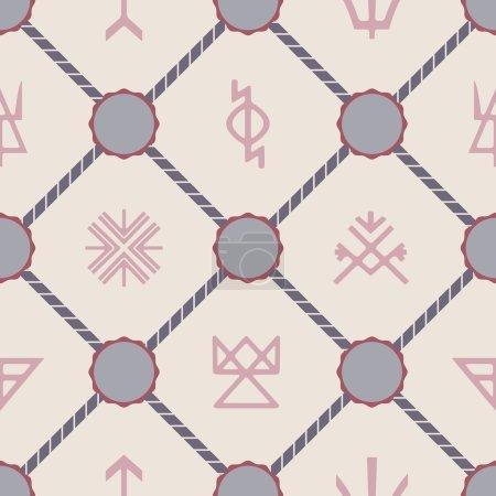 Seamless background with Slavic pagan symbols