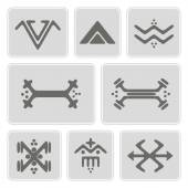 Set of monochrome icons with Touareg tattoo symbols for your design
