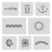 Set of monochrome icons with Polynesian tattoo symbols for your design