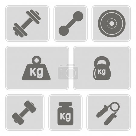 Set of monochrome icons with weight