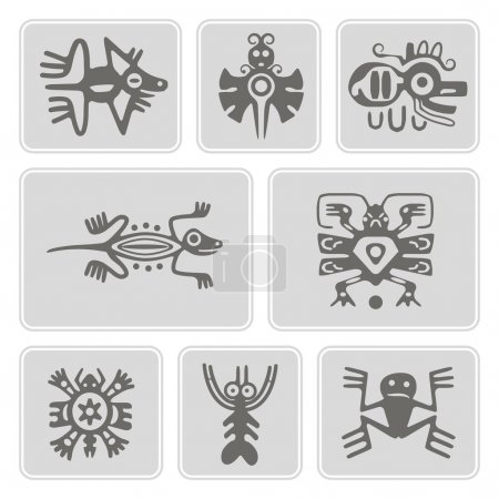 Set of monochrome icons with American Indians relics dingbats characters (part 1)