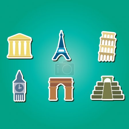 Set of color icons with  architectural monuments of world