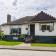 Small family house with green lawn in front. Avera...