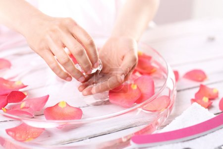 Smooth leather palm, beauty treatment clinic