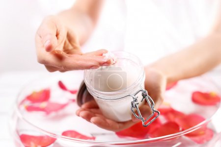 Massage of female hands peeling preparation Spa & ...