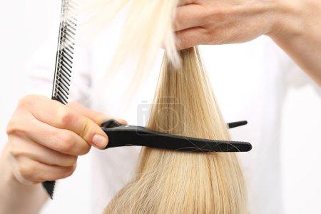 Medium-length hair, the woman at the hairdresser