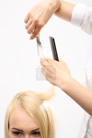 Barber haircut woman in a hair salon...