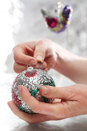 Sequin bauble. The idea for a Christmas present, handmade sequin decoration