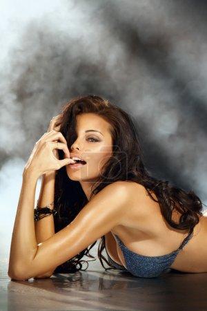 Sexy beautiful brunette woman posing in lingerie. ...