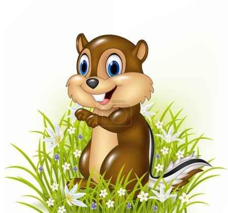 Cartoon chipmunks on grass background