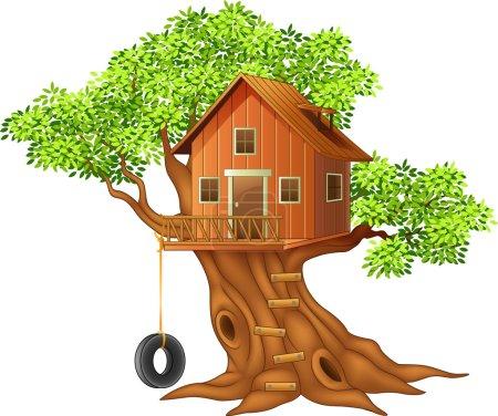 Illustration pour Illustration vectorielle de Belle maison des arbres dessin animé - image libre de droit