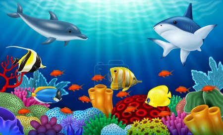 Beautiful underwater world with corals and tropical fish.