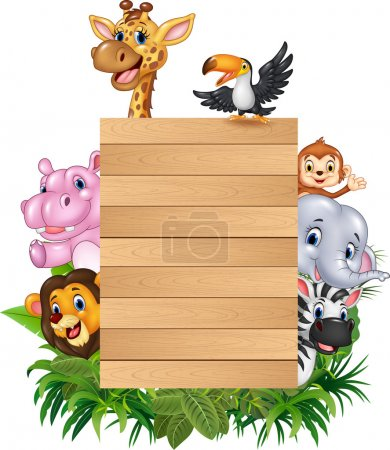 Cartoon animal africa with wooden sign