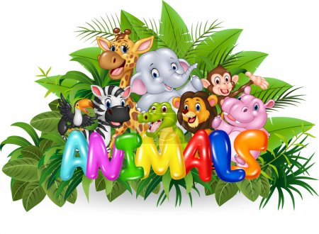 Illustration of Word animal with cartoon wild animal