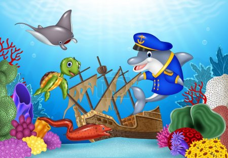 Sea animals with Shipwreck on the ocean