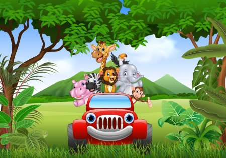 Illustration for Vector illustration of Cartoon animals africa in the red car - Royalty Free Image