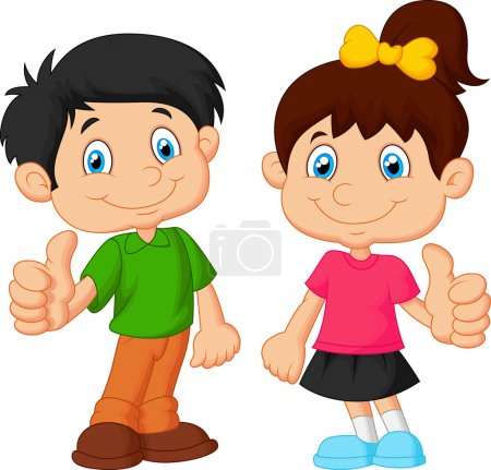 Illustration for Vector illustration of Cartoon boy and girl giving thumb up - Royalty Free Image