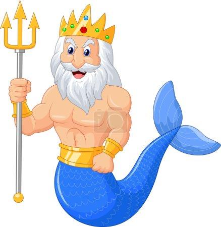 Vector illustration of Poseidon cartoon...
