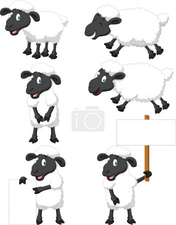 Illustration for Vector illustration of Cute cartoon sheep collection set - Royalty Free Image