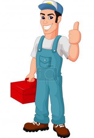 Illustration for Vector illustration of Friendly Mechanic with toolbox giving thumbs up - Royalty Free Image