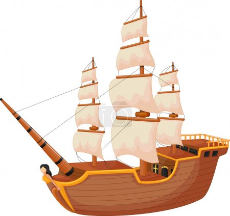 Illustration for Vector illustration of Cartoon ship isolated - Royalty Free Image