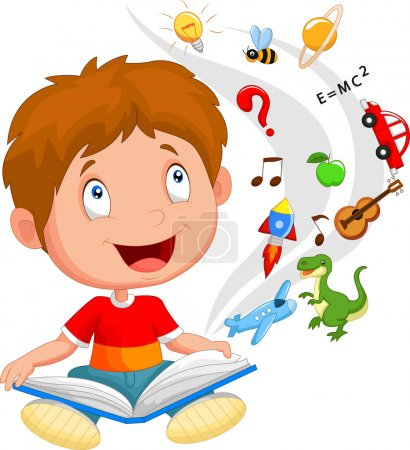 Little boy reading book education concept illustration