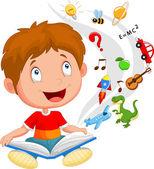 Little boy reading book education concept illustration