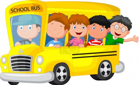Illustration for Vector illustration of School Bus With Happy Children - Royalty Free Image