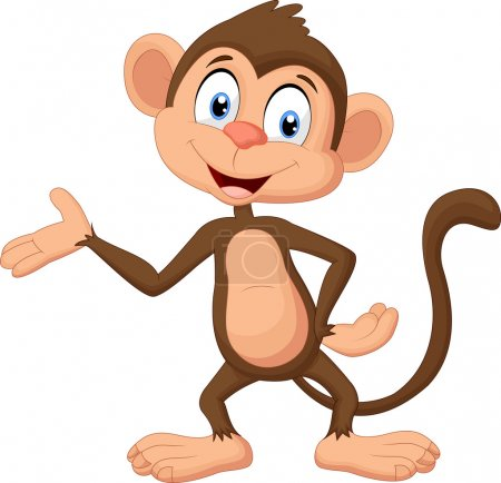 Vector illustration of Cartoon monkey presenting...
