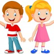 Vector illustration of Cute children waving hand...